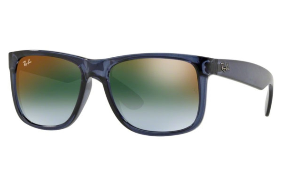 Ray-Ban RB 4165 JUSTIN Sunglasses in 6341T0 Trasparent Blue / Blue Gradient Green Mirror Red