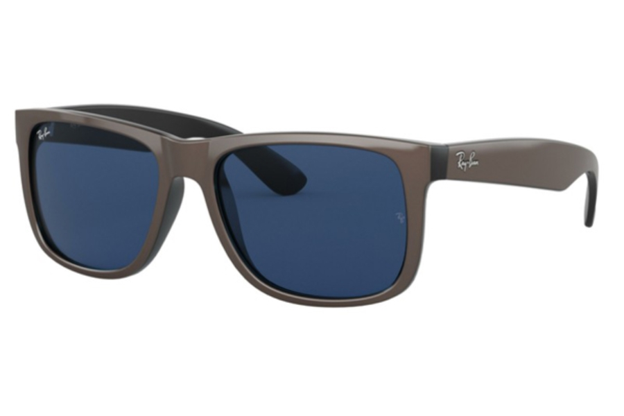 Ray-Ban RB 4165 JUSTIN Sunglasses in 647080 Brown Metallic On Black / Dark Blue