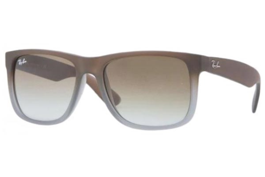 Ray-Ban RB 4165 JUSTIN Sunglasses in 854/7Z Rubber Brown On Grey Green Gradient