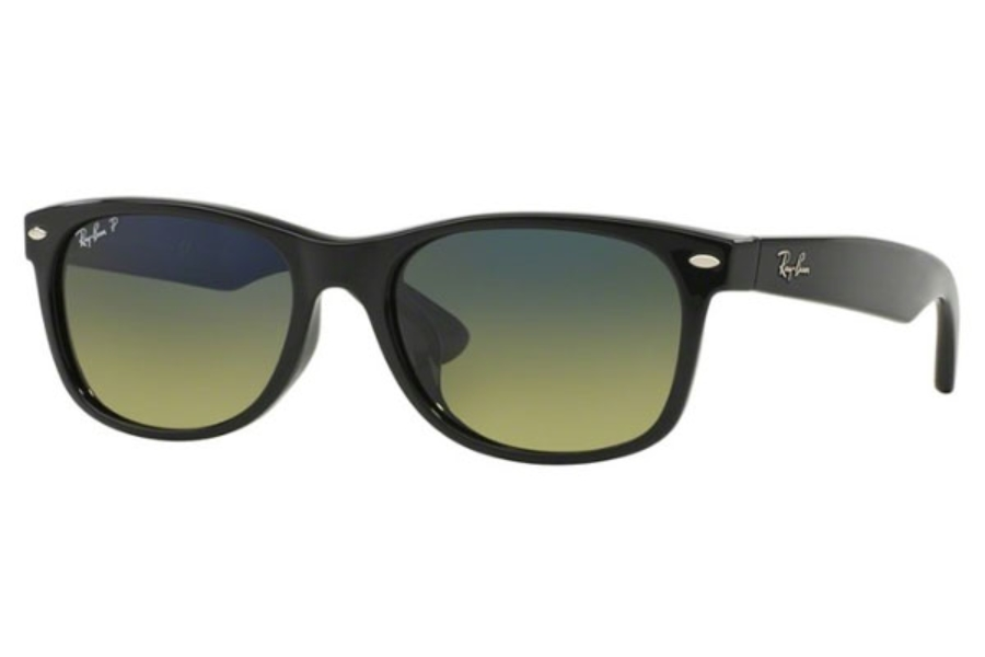 Ray-Ban RB 2132 Polarized Sunglasses in 901/76 BLACK / polar blue gradient green