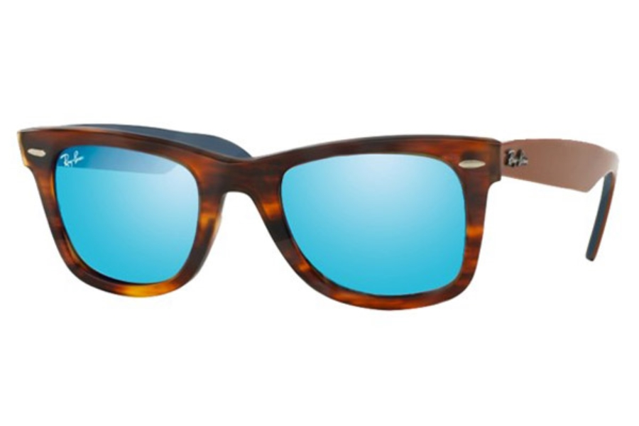 Ray-Ban RB 2140 Original Wayfarer Sunglasses in 117617 Striped Havana / Grey Mirror Blue (Discontinued)