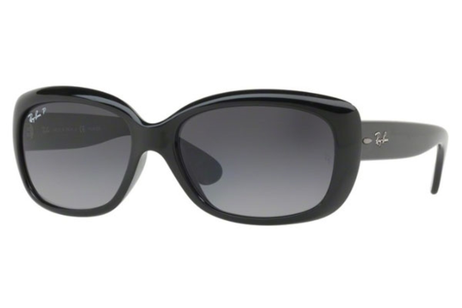 Ray-Ban RB 4101 JACKIE OHH Sunglasses in 601/T3 Shiny Black / Grey Gradient Dark Grey Polar