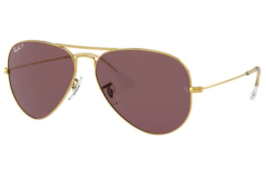 Ray-Ban RB 3025 (Aviator Large Metal with Polarized Lenses) Sunglasses in 9196AF Legend Gold / Polar Purple