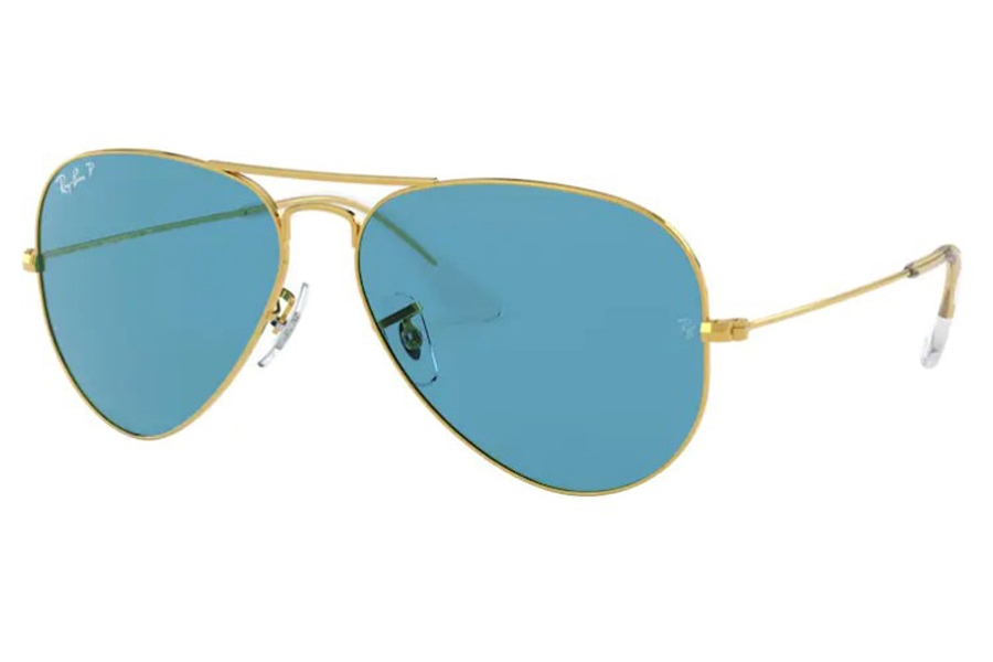 Ray-Ban RB 3025 (Aviator Large Metal with Polarized Lenses) Sunglasses in 9196S2 Legend Gold / Polar Blue