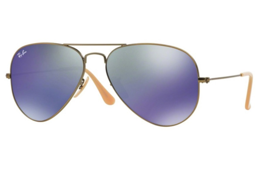 Ray-Ban RB 3025 (Aviator Large Metal with Mirrored Lenses) Sunglasses in 167/68 Demiglos Brusched Bronze / Blue Mirror