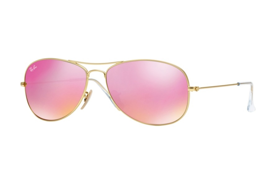 Ray-Ban RB 3362 Cockpit Sunglasses in 112/4T Matte Gold w/ Crystal Cyclamen Mirror Lenses