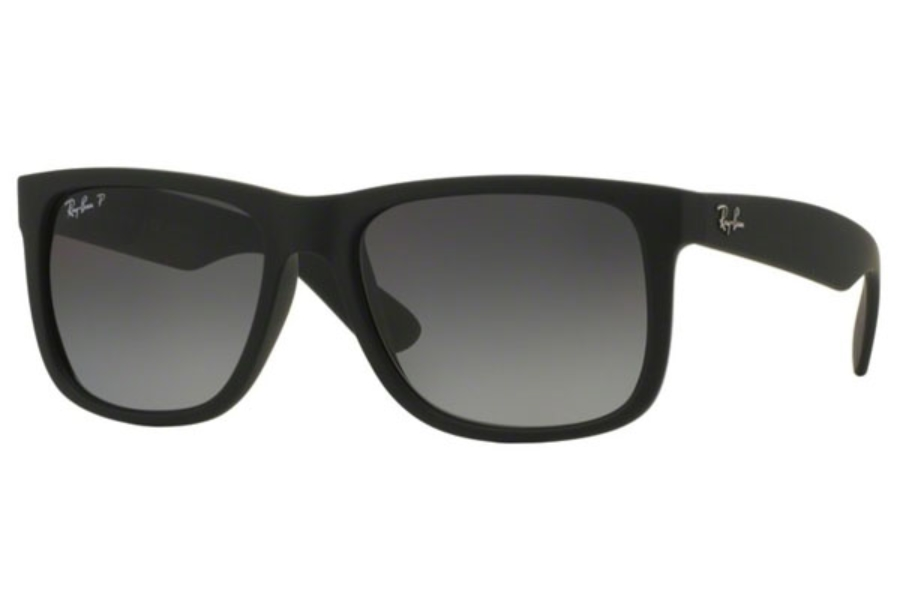 Ray-Ban RB 4165 JUSTIN Sunglasses in 622/T3 Black Rubber Polar Grey Gradient (55 Eyesize Only)