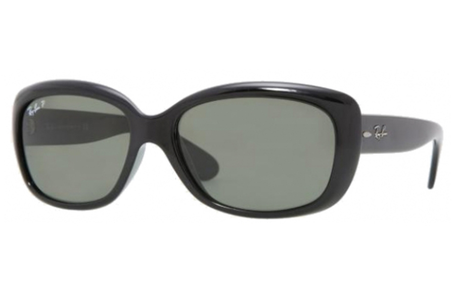 Ray-Ban RB 4101 JACKIE OHH Sunglasses in 601/58 Black Crystal Green Polarized