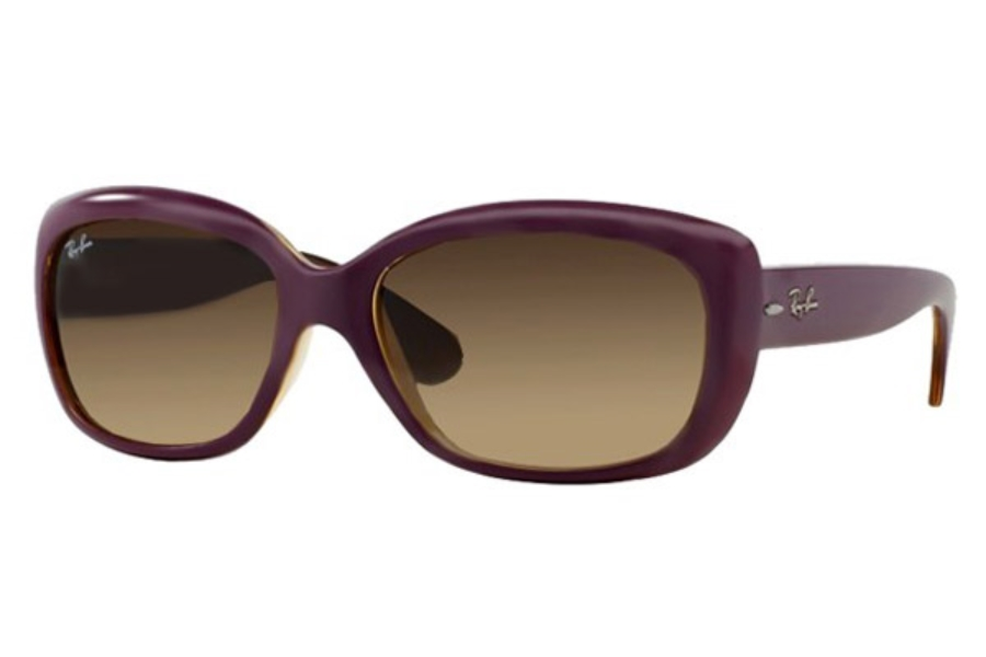 Ray-Ban RB 4101 JACKIE OHH Sunglasses in 613413 Top Mat Violet On Trasp Sand / Gradient Brown