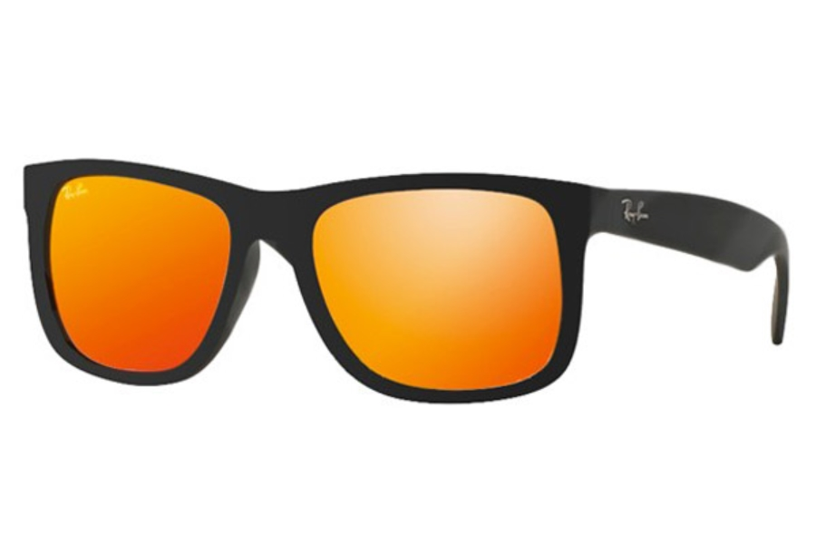Ray-Ban RB 4165 JUSTIN Sunglasses in 622/6Q Rubber Black Brown Mirror Orange