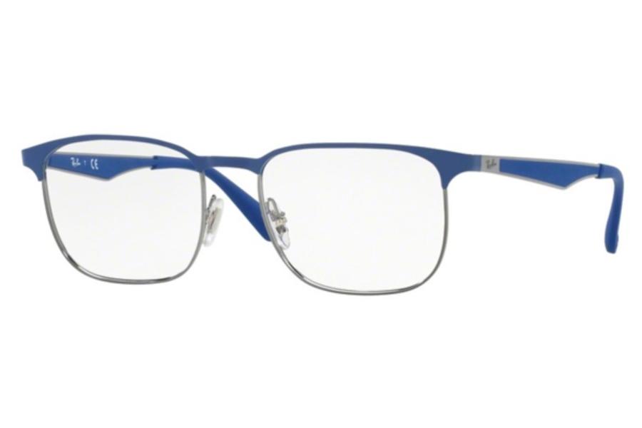 1875dbe59e2d2 ... Ray-Ban RX 6363 Eyeglasses in 2889 Gunmetal Top On Elecrtic Blue ...