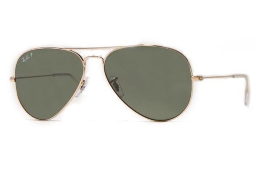 Ray-Ban RB 3025 (Aviator Large Metal with Polarized Lenses) Sunglasses in 001/58 Arista w/ Green Polarized Lenses