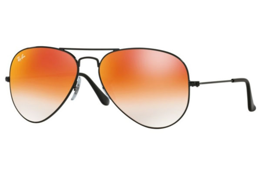 Ray-Ban RB 3025 (Aviator Large Metal) Continued Sunglasses in 002/4W Shiny Black / Mirror Gradient Red (55 & 58 Eyesize Only)