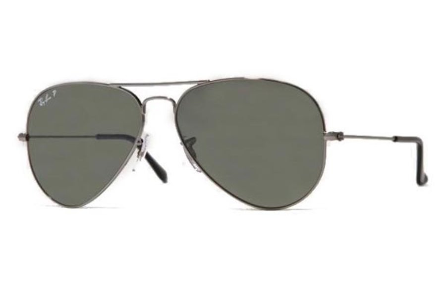 Ray-Ban RB 3025 (Aviator Large Metal with Polarized Lenses) Sunglasses in 004/58 Gunmetal Crystal Green Polarized (58 and 62 Eyesize Only)