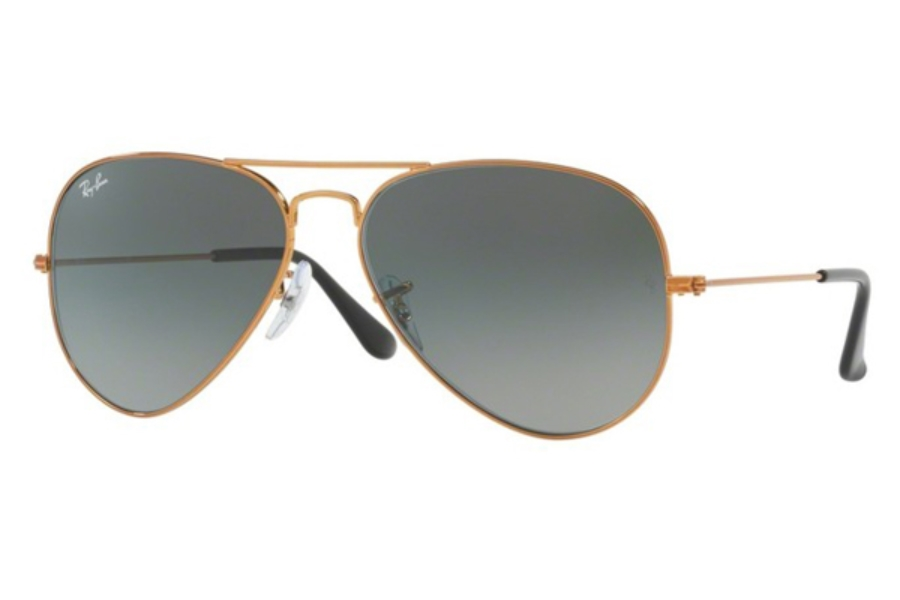 Ray-Ban RB 3025 (Aviator Large Metal) Continued Sunglasses in 197/71 Shiny Bronze / Light Grey Gradient Dark Grey (55 & 58 Eyesizes Only)
