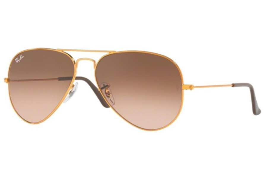 Ray-Ban RB 3025 (Aviator Large Metal) Continued Sunglasses in 9001A5 Shiny Light Bronze / Pink Gradient Brown