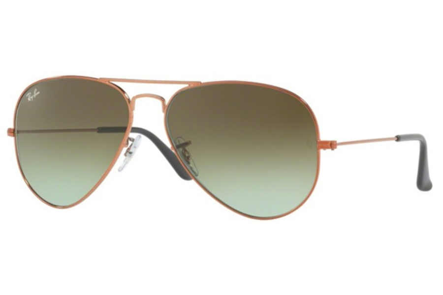 Ray-Ban RB 3025 (Aviator Large Metal) Continued Sunglasses in 9002A6 Shiny Medium Bronze / Green Gradient Brown (55 & 58 Eyesizes Only)
