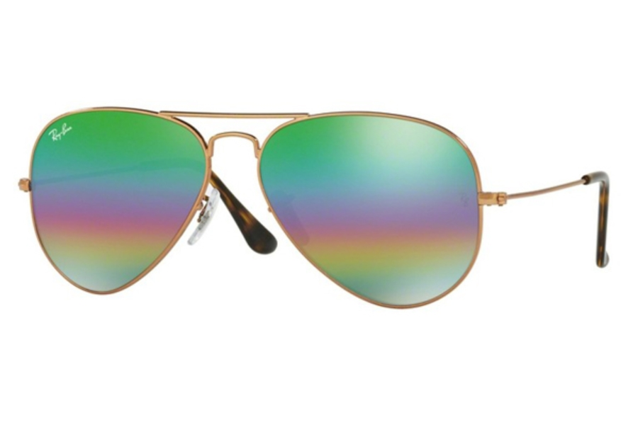 Ray-Ban RB 3025 (Aviator Large Metal) Sunglasses in 9018C3 Metlallic Medium Bronze / Light Grey Mirror Rainbow 2 (Discontinued)
