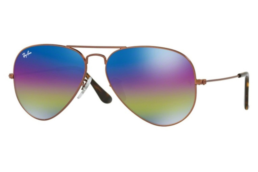 Ray-Ban RB 3025 (Aviator Large Metal) Sunglasses in 9019C2 Metallic Dark Bronze / Light Grey Mirror Rainbow 2 (58 & 62 Eyesizes Only) (Discontinued)
