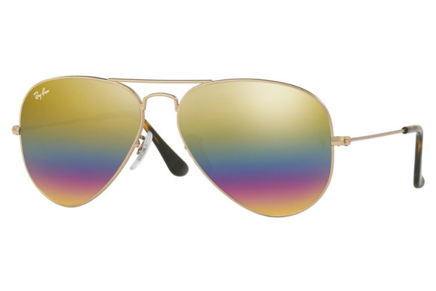 Ray-Ban RB 3025 (Aviator Large Metal) Sunglasses in 9020C4 Metallic Light Bronze / Light Grey Mirror Rainbow 3 (58 & 62 Eyesizes Only) (Discontinued)
