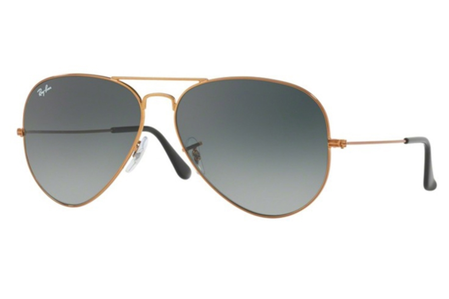 Ray-Ban RB 3026 (Aviator Large Metal II) Sunglasses in 197/71 Shiny Bronze / Light Grey Gradient Dark Grey