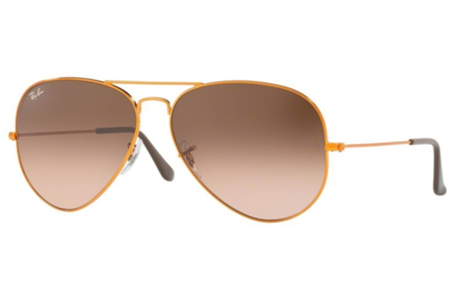 Ray-Ban RB 3026 (Aviator Large Metal II) Sunglasses in 9001A5 Shiny Light Bronze / Pink Gradient Brown
