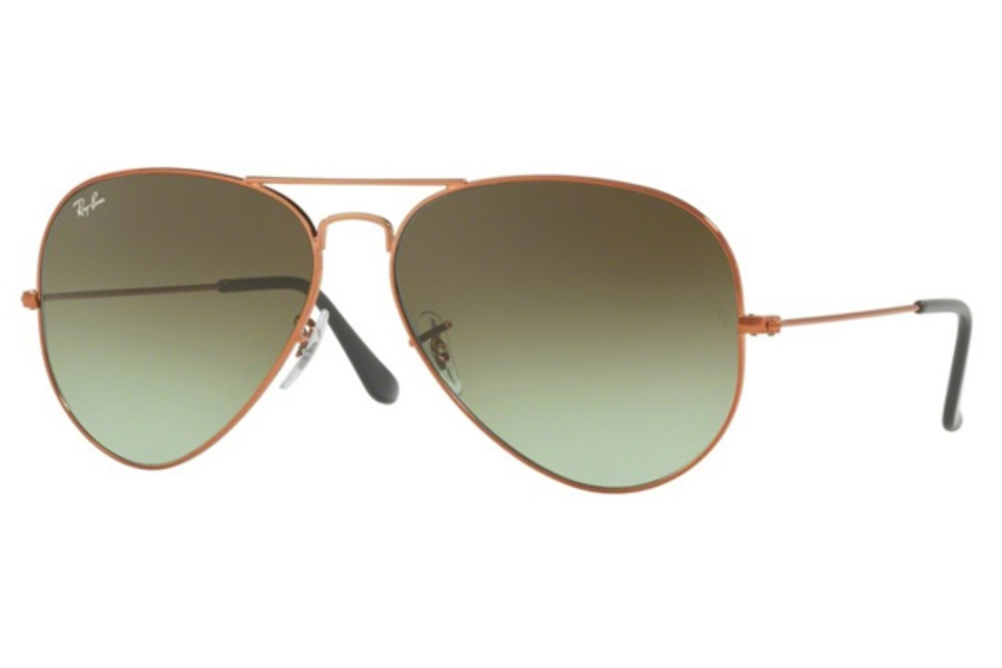 Ray-Ban RB 3026 (Aviator Large Metal II) Sunglasses in 9002A6 Shiny Medium Bronze / Green Gradient Brown
