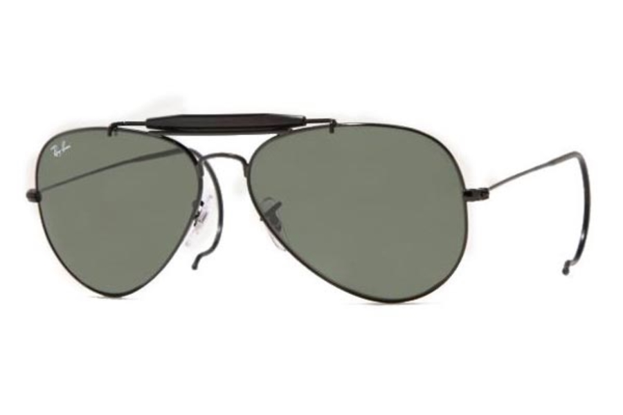 Ray-Ban RB 3030 Outdoorsman with cable Temples Sunglasses in L9500 BLACK W/ G-15 XLT GLASS LENS