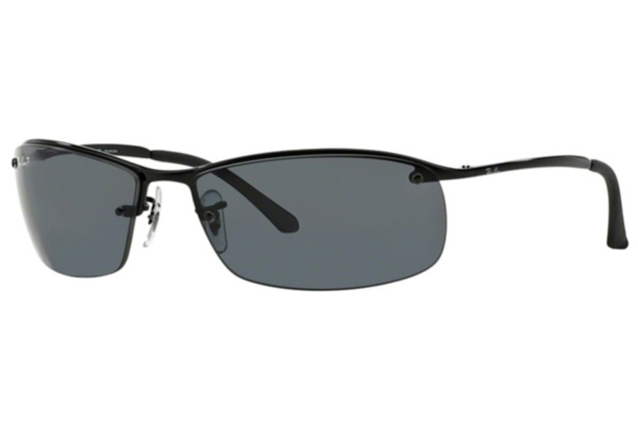 Ray-Ban RB 3183 (Top Bar Square) Sunglasses in 002/81 Black Polar Grey