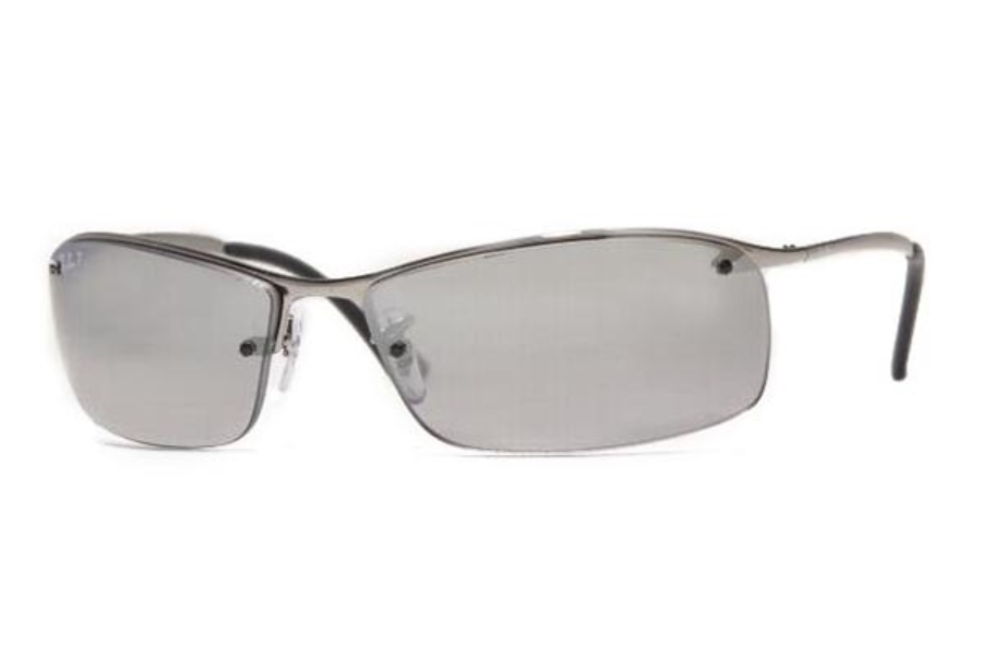 Ray-Ban RB 3183 (Top Bar Square) Sunglasses in 004/82 Gunmetal Polar Gray Mirror Silver Gradient