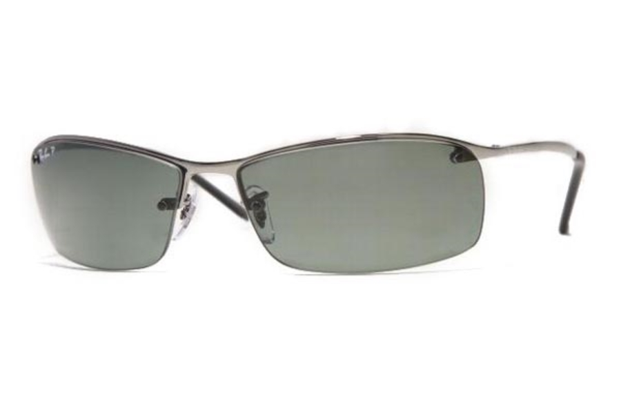 Ray-Ban RB 3183 (Top Bar Square) Sunglasses in 004/9A Gunmetal Polar Green