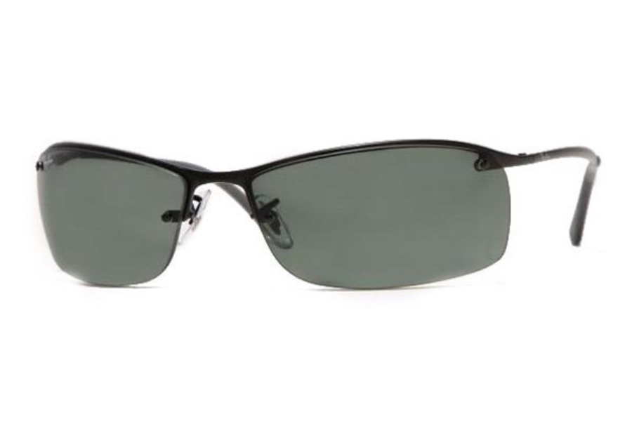 Ray-Ban RB 3183 (Top Bar Square) Sunglasses in 006/71 Matte Black Green