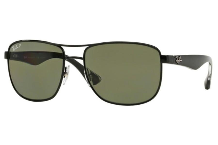 dba9b62bfb21b Ray-Ban RB 3533 Sunglasses in 002 9A Black Polar Green ...