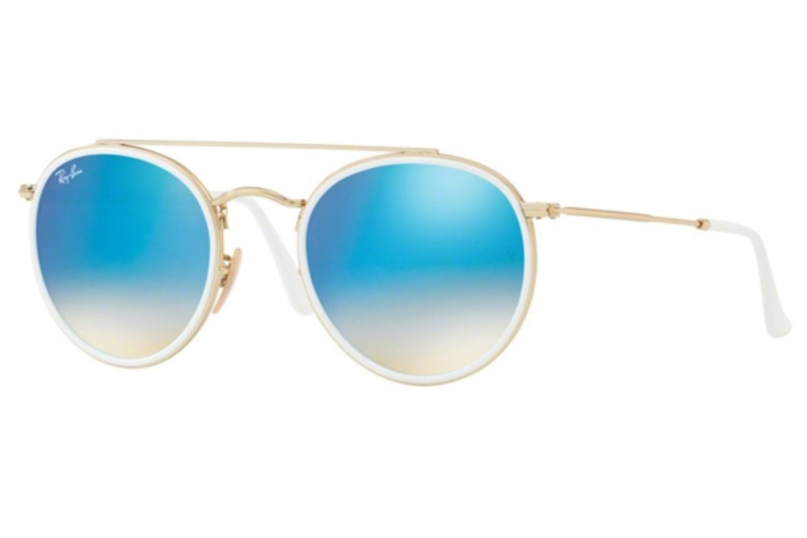 Ray-Ban RB 3647N Sunglasses in 001/4O Gold / Gradient Brown Mirror Blue