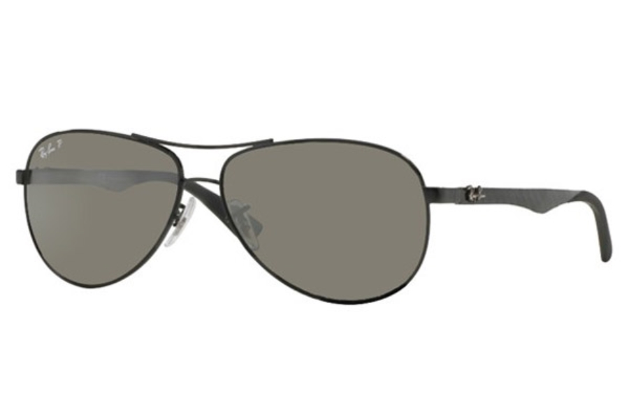 Ray-Ban RB 8313 Sunglasses in 002/K7 Shiny Black Grey Mirror Black Polar