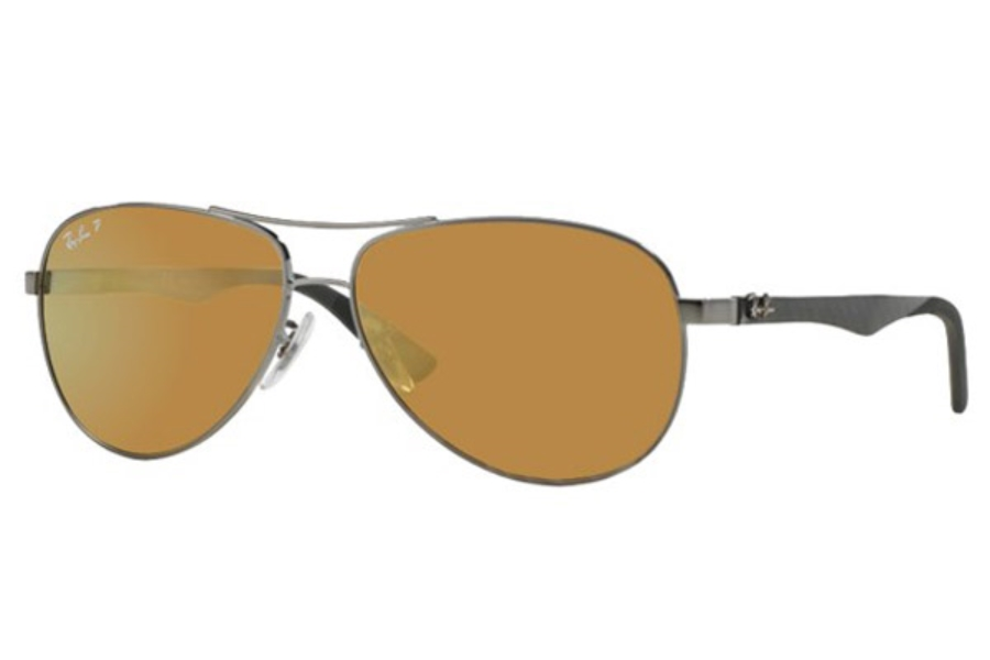 Ray-Ban RB 8313 Sunglasses in 004/N3 Shiny Gunmetal Brown Mirror Gold Polar