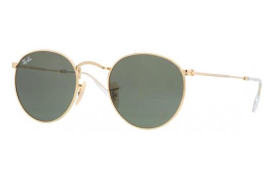 Ray-Ban RB 3447 ROUND METAL Sunglasses in 001 Gold w/Crystal Green Lenses