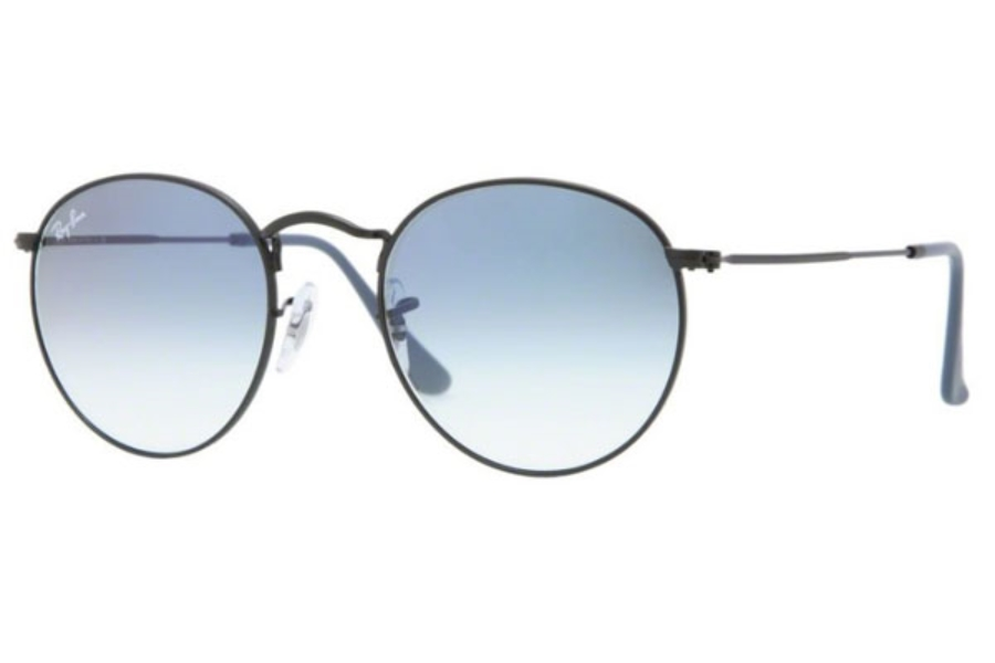 Ray-Ban RB 3447 ROUND METAL Sunglasses in 006/3F Matte Black / Crystal Gradient Light Blue (50 Eyesize Only)