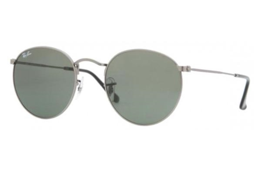 Ray-Ban RB 3447 ROUND METAL Sunglasses in 029 Matte Gunmetal w/Crystal Green Lenses