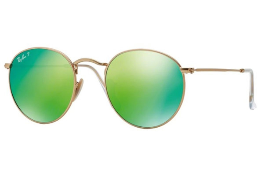 Ray-Ban RB 3447 ROUND METAL Sunglasses in 112/P9 Matte Gold / Green Mirror Polar (53 Eyesize Only)