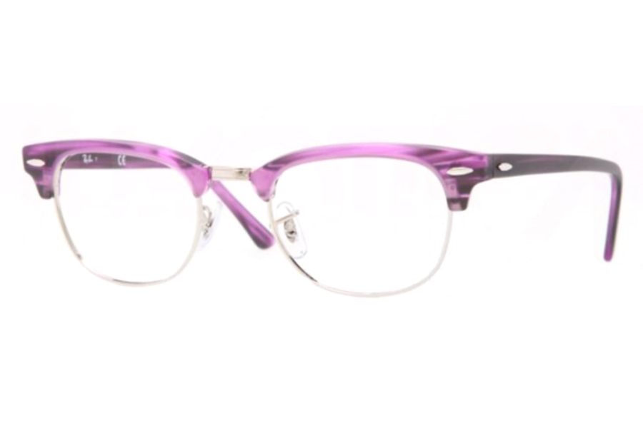 Ray-Ban RX 5154 Clubmaster Eyeglasses in 5257 MATTE STRIPED VIOLET (49 eye size only)