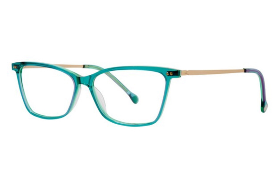 Red Rose Naples Eyeglasses in 6448 Turquoise Ocean/Gold