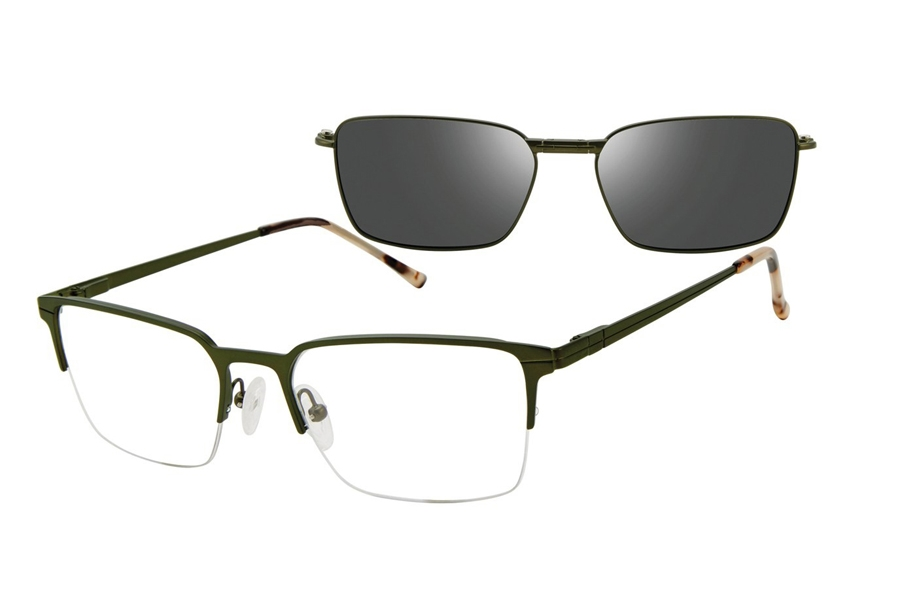 Revolution w/Magnetic Clip Ons Denton w/Magnetic Clip-on Eyeglasses in GRN Green
