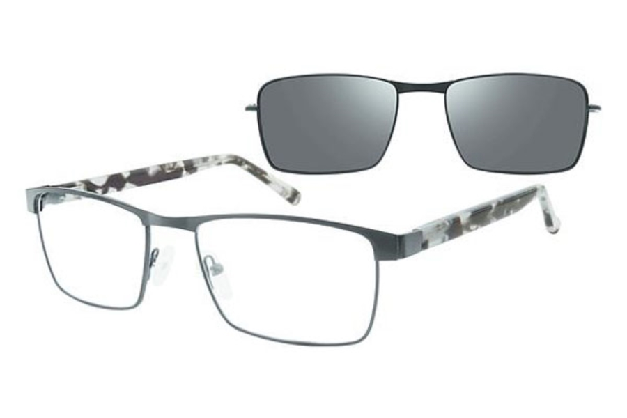 Revolution w/Magnetic Clip Ons Upland w/Polarized Clip-On Eyeglasses in Black