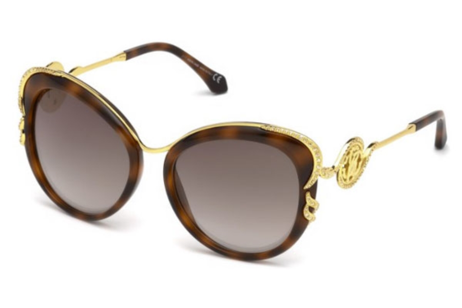 Roberto Cavalli RC1073 Vinci Sunglasses in 52G - Dark Havana / Brown Mirror