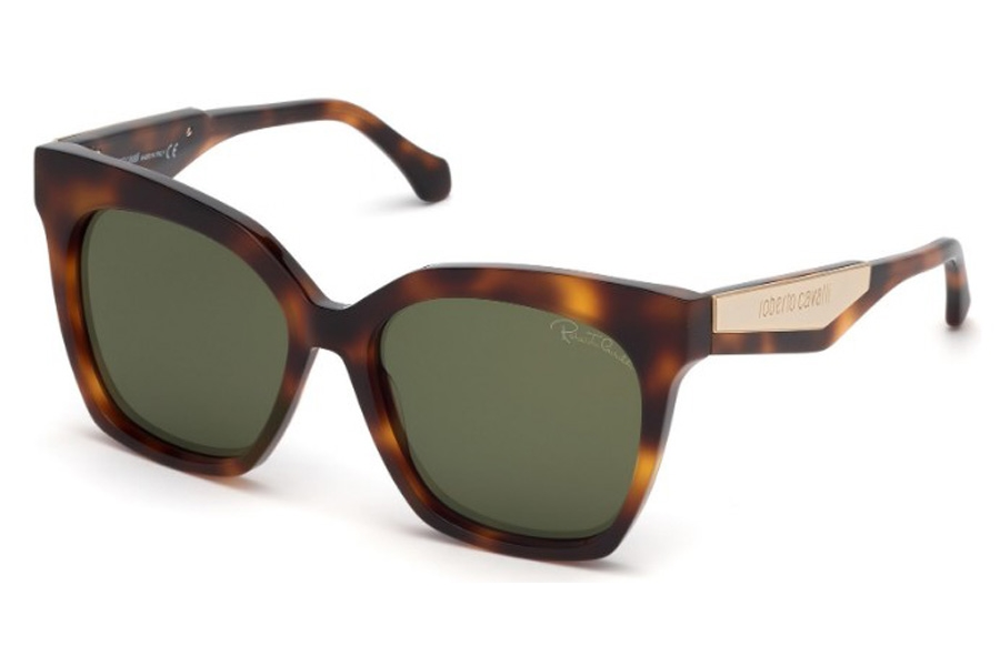 Roberto Cavalli RC1097 Montevarchi Sunglasses in 52N - Shiny Yellow & Red Havana, Shiny Pale Gold/ Smoke Green