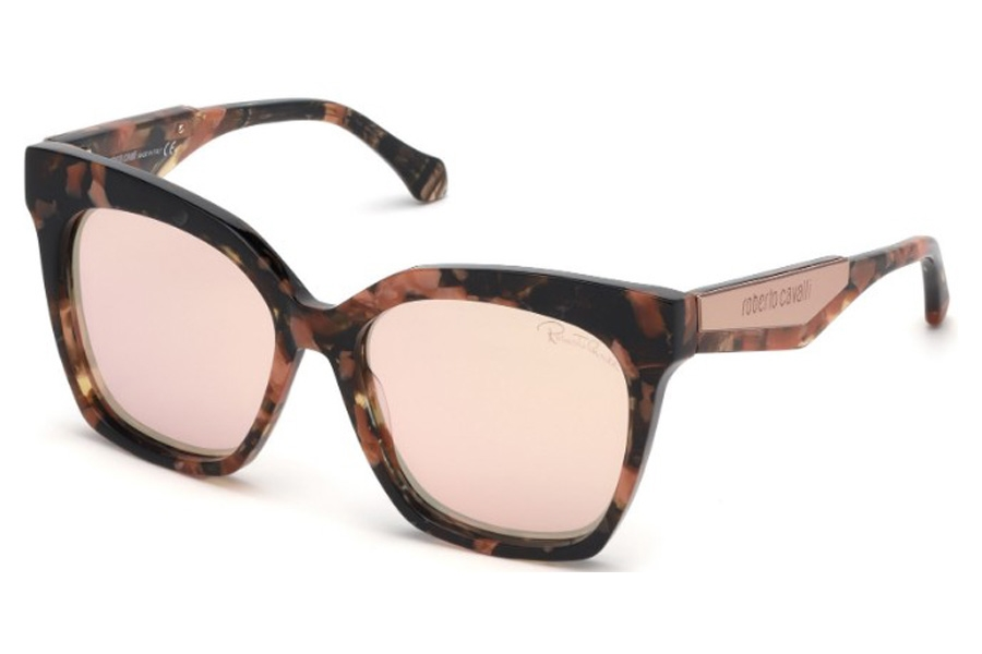 Roberto Cavalli RC1097 Montevarchi Sunglasses in 55G - Shiny Pink Havana, Shiny Pink Gold/ Light Brown W. Rose Gold