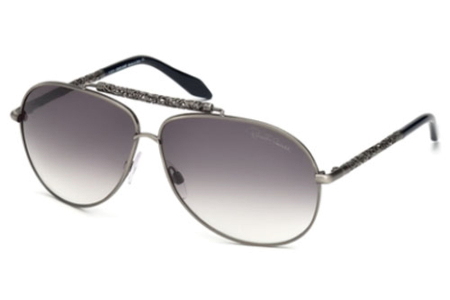 Roberto Cavalli RC664S CLEMATIS Sunglasses in 17B Silver Black / Gradient Smoke Lens