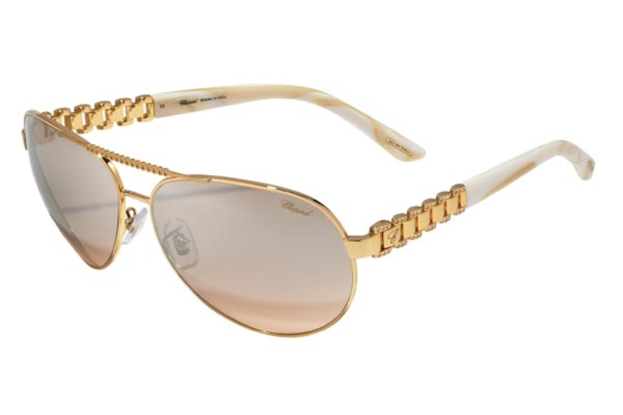 Chopard SCH A63S Sunglasses in H16X Shiny Rose Gold-Shiny Beige/Light Pink Grey