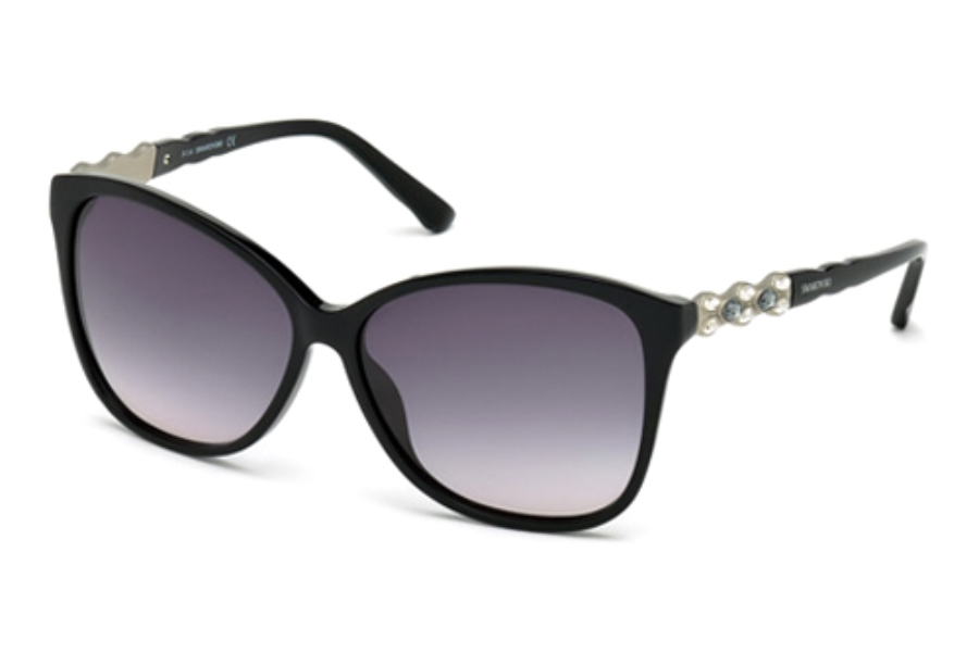 Swarovski SK0085 Elizabeth Sunglasses in 01B Shiny Black / Gradient Smoke